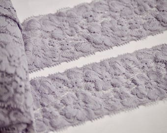 "Pale lavender Lace Elastic, Lace Trim -  Lace Stretch Elastic -2"" Lace by the yard - Hair Elastic -Lace FOE - Stretch Lace"