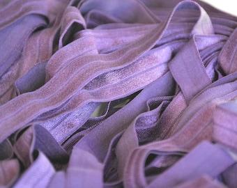 Lilac Fold over elastic, FOE- 5/8 Fold Over Elastic- Foldover Elastic- Solid FOE- Ivory Elastic by the yard- Shiny Elastic, Headband Elastic