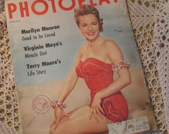 Vintage Photoplay Magazine, August 1954, Marilyn Monroe Article, Movie Ads