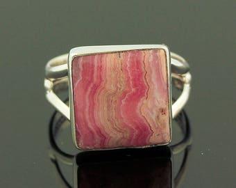 Pink Rhodochrosite Ring // 925 Sterling Silver // Ring Size 8 // Handmade Jewelry