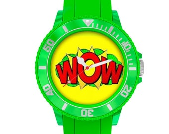 Wow...!, green plastic watch
