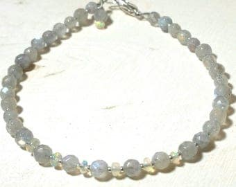Minimalist Beaded Ethiopian Fire Opal Gemstone and Labradorite Gemstone Beaded Bracelet with Solid Sterling Silver Seed Beads Gift for her