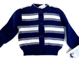 DEADSTOCK Vintage Child Sweater 1960s Kids Cardigan Navy Blue White Stripes Baby Infant Knit Cotton Unworn NWOT Film Wardrobe