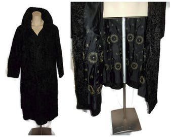 Vintage Fur Coat 1940s Long Black Persian Lamb Fur Coat Amazing Gold Embroidered Lining Broadtail Lamb Must See! Astrakhan Boho Fur Coat L
