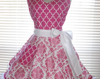 Fifties Style Retro Apron Hot Pink Shimmering Damask Hot Pink Apron Circular Flirty Skirt Satin Edge Organza Trimming