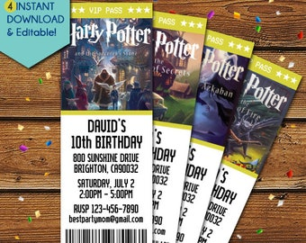 Harry Potter Invitations, Harry Potter Birthday Invitation,Harry Potter Party Invitations, Harry Potter Invite, Harry Potter Bookmark