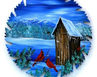 Hand Painted Saw Blade Mountain Blue Winter OUT HOUSE and Cardinals