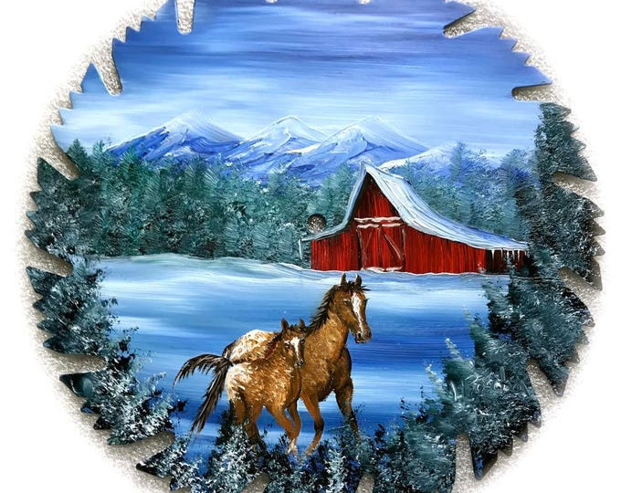 Hand Painted Saw Blade Mountain Winter Red Barn and Appaloosa Mother and Colt