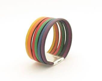 Gay pride, Rainbow cuff Bracelet, Rainbow Men's Leather Bracelet, LGBT bracelet, Gay Pride bracelet, Modern Men's Bracelet, gift for him
