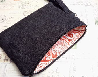 Wristlet Wallet / Cell Phone Wallet / Wristlet Purse / Zippered Wristlet Bag / Cell Phone Wristlet / Black Denim / Pick Your Lining Color