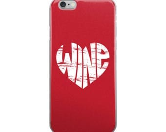 Vintage Wine Heart iPhone Cell Phone Case in Red - 5/5s/Se, 6/6s, 6/6s Plus or 7/7 Plus