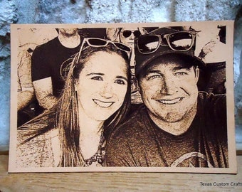 Leather Engraved Photo, Custom Leather Engraved Photo, Personalized Leather Engraved Photo, Laser Engraved Photo on Leather