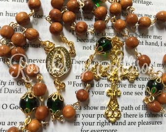 Bayong wooden bead and Green Emerald Czech glass bead rosary with gold plated Our Lady of Guadalupe center and crucifix