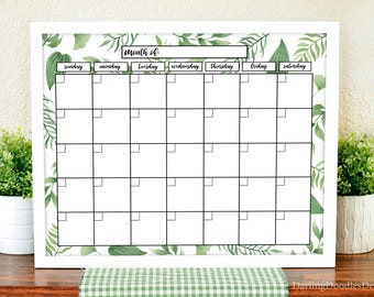 Botanical Foliage Calendar - 2018 Calendar - Printable Monthly Calendar - Dry Erase Calendar - Tropical Leaf Calendar - Instant Download -