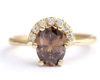 ON SALE Champagne Diamond Ring, Oval Diamond Ring, Brown Diamond Ring, Half Diamond Halo Ring, Diamond Engagement Ring, 1.5 Carat Diamond Ri