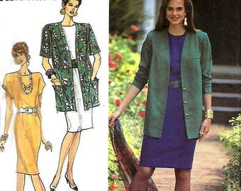 ON SALE Simplicity 7101 Misses/ Miss Petite Easy-To-Sew Dress And Unlined Jacket pattern, Size 6-14, UNCUT