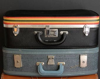 Vintage Suitcase By Ventura Black Medium Sized Semi Hardside Luggage With Red Yellow and Green Stripes