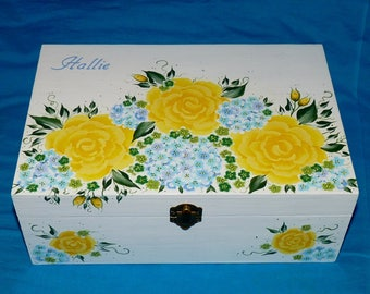 Elegant Tea Box Custom Wood Tea Chest Wooden Tea Bag Storage Shabby Chic Tea Holder Hand Painted Personalized Roses Anniversary Gift