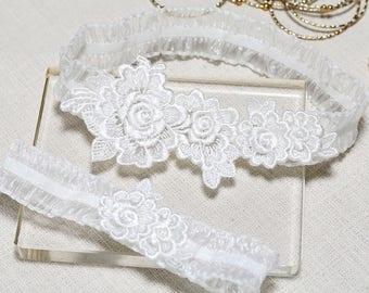Lace garter set, rose lace garter set,white  rose garter set, bridal garter set, wedding garter set