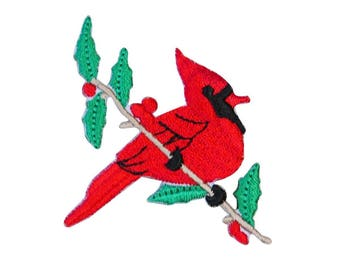 ID 0602 Northern Cardinal Patch Red Bird Art Embroidered Iron-On Applique