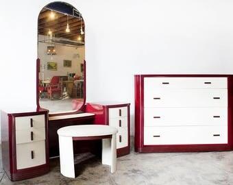 Norman Bel Geddes Dresser and Vanity Bedroom Set, Refinished