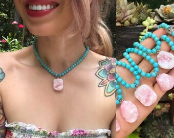 Gemstone CHOKER // Baby pink druzy + turquoise howlite necklace // beaded choker // best friends jewelry // bridesmaid // crystal necklace