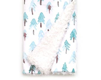 Baby Blanket Fir Trees. The Cloud Blanket. Faux Fur Baby Blanket. Minky Baby Blanket. Tree Baby Blanket. Woodland Nursery.