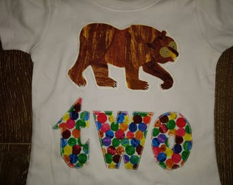 two Brown Bear, Brown Bear, Second birthday Shirt - Short Sleeve size 2T - READY to SHIP