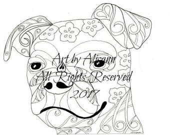 Chug - Chihuahua Pug Mix  -Instant Download - Coloring Books for Adults - Love Dogs