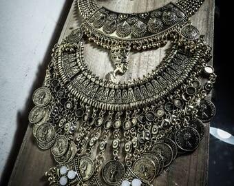 Boho chic Pharaoh gold bib necklace