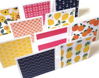 Set of 10 // 3x3 Mini Tropical Note Cards // Mini Note Cards // Pineapple Note Cards // Fruit Note Cards // Bright Note Cards // Mini Cards