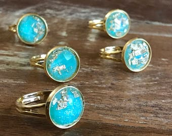 gold leaf ring / gold flake ring / turquoise ring / boho ring