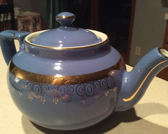 Vintage Hall Teapot  - Blue with Gold Trim