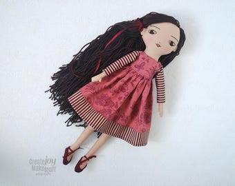 """Madeline ~ 16"""" Handmade Heirloom Cloth Doll - Ready to Ship - Rag doll - jointed, fabric, stripes, floral, burgundy, wine, gift, holiday"""