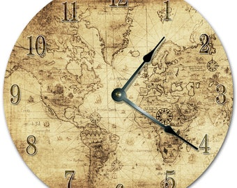 World globe clock etsy 105 old world map clock living room clock large 105 wall clock gumiabroncs Image collections