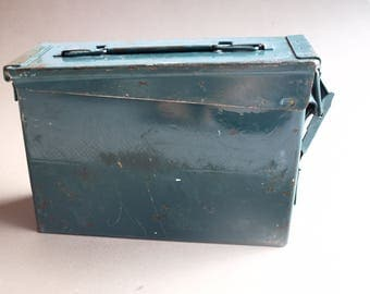 Metal ammo box hunter green ammunition box industrial storage vintage  storage container  clean rustic condition