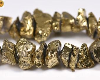 15 inch strand of Mystic Titanium Crystal Quartz rough nugget bead,cut nugget bead,gold color 6-13x16-21mm
