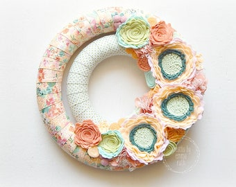 Double Wrapped Fabric Felt Wreath Floral Fabric Felt Wreath Summer Spring Wreath Home Decor Felt Flowers Felt Floral Wreath Peach Floral