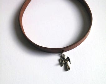 Brown Leather Choker, Leather Necklace, Angel Necklace, Leather Jewelry, Nuray