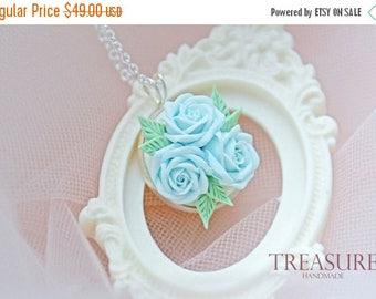 SALE Blue rose necklace, blue flower necklace, something blue, bridal necklace, blue roses necklace, roses something blue, blue flower jewel