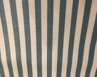 Vintage Cotton Fabric, Green and White Striped by Western Textiles