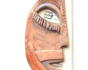 Ceramic face, Ceramic wall mask, Assemblage art, Creepy face, Modern ceramic, Ceramic sculpture, Wall sculpture, Contemporary ceramic