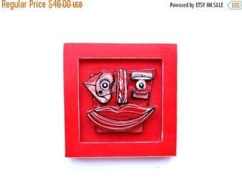 In love, Wall sculpture, Red ceramics, Red sculpture, Modern red art, Contemporary art, Abstract face, Weird wall art, Weird sculpture