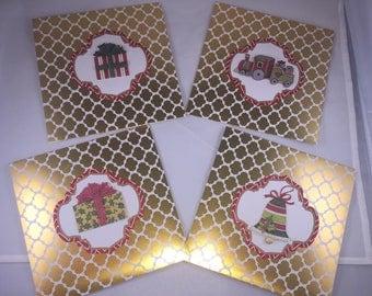 Christmas Holiday Seasons Greetings Gold Train Present Bell Card - Item #2017-6