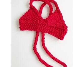 Boho Baby Bikini Top - Knit Bikini top for baby girl in cherry red- Toddler Bikini - Bohemian Baby - knitted crop top