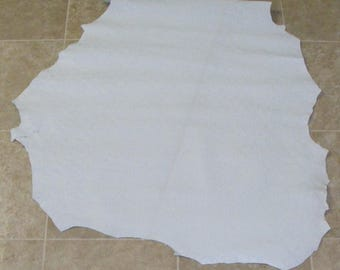 QVA7471-5) Hide of White Printed Lambskin Leather Hide Skin