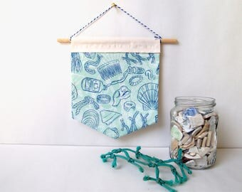 blue beachcombing handmade patterned wall hanging | fabric banners, home decor