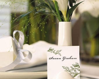 6 Mini Party Favor Vases, Vase Place Card Holders, Wedding Place Card Holders, Placecard Holder, Small Bud Vases with Card Holder