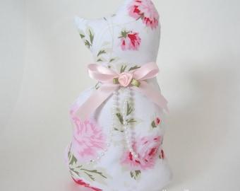 Cat Doll, Rachel Ashwell (RARE fabric) Cat Shelf Sitter, Cat Shape Pillow Doll, Stuffed Cat, Rose Cat
