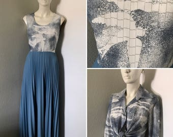 Vintage dress 70s dress maxi dress accordion pleated skirt silver metallic thread bird print feathers formal gown vintage set affordable